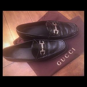 GUCCI Loafer 39.5M Black Patent Leather w/Dustbag